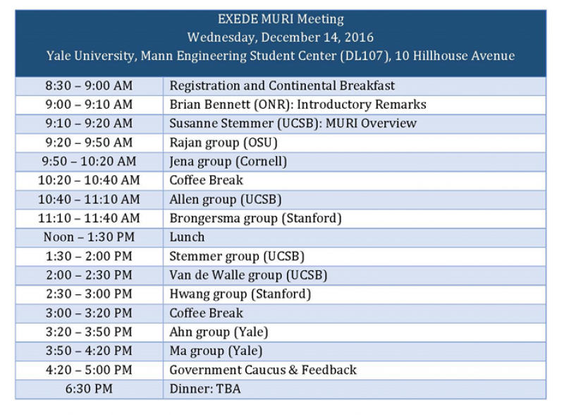 EXEDE MURI Meeting Schedule | Ahn Lab